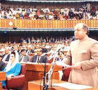 Nawaz addressing National Assembly